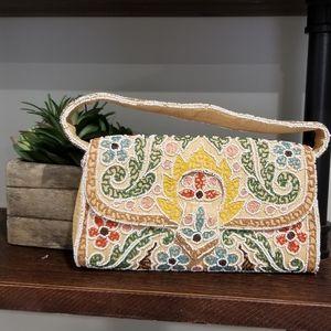 Handbags - VINTAGE HANDBEADED WICKER CLUTCH